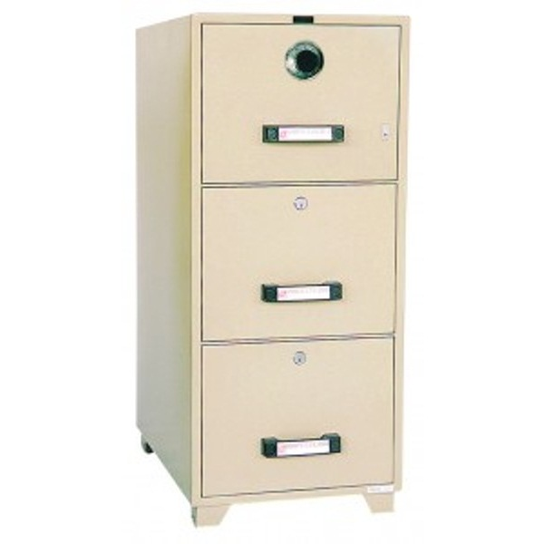 Captivating UCHIDA 3 Drawer Fire Resistant Filing Cabinet B4 3D