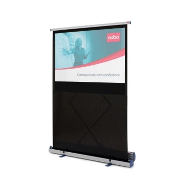 Nobo quartet motorized projection screen portable floor for Motorized floor up screen